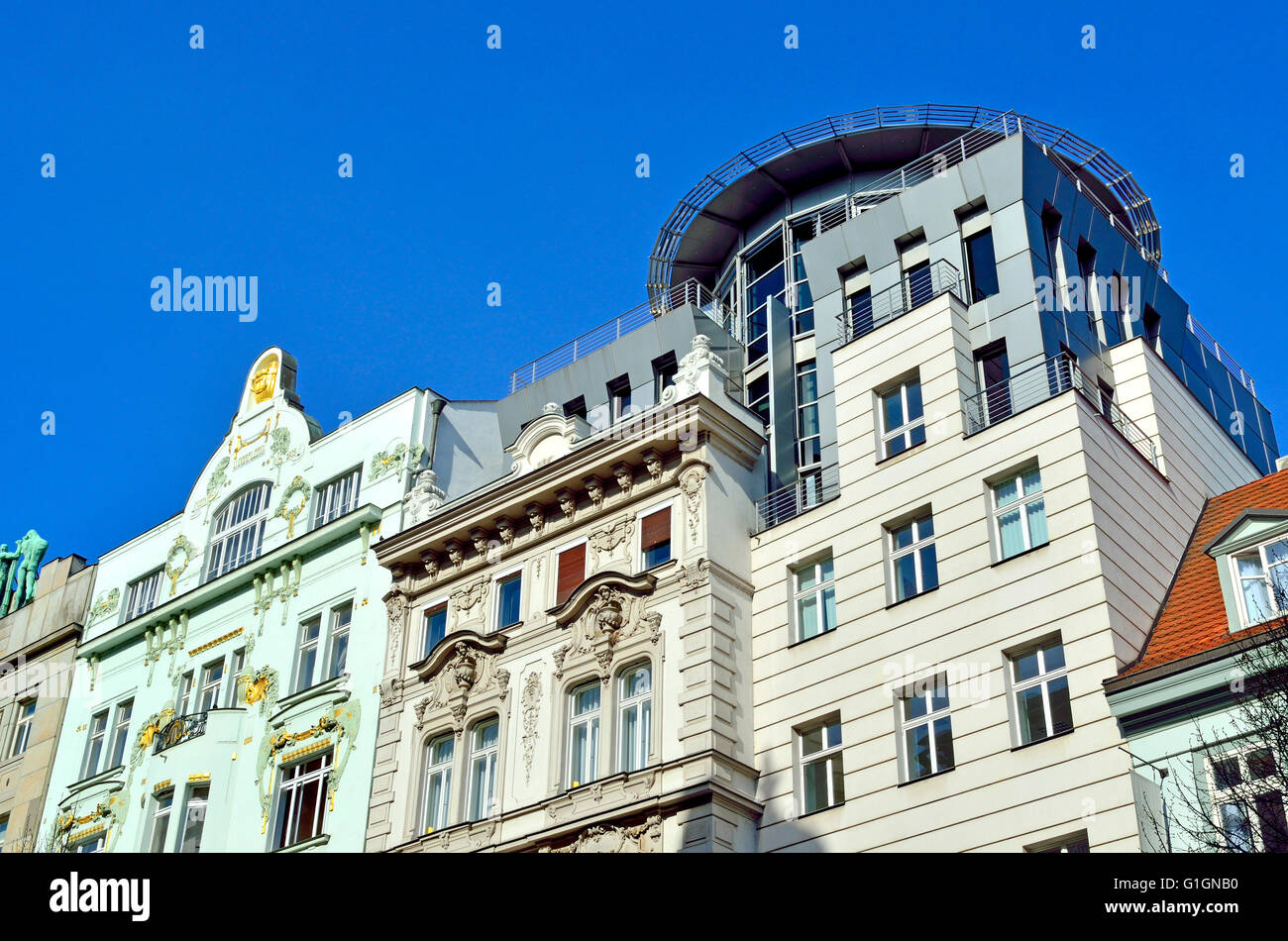 Prague, Czech Republic. Contrasting art nouveau and modern architecture on Na Prikope (street) - Stock Image