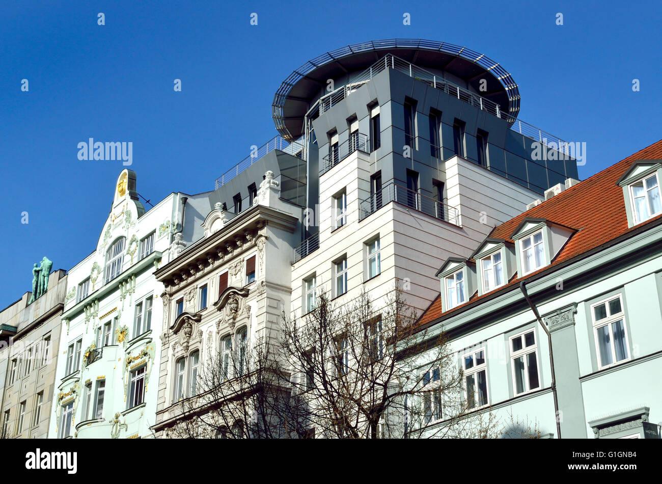 Prague, Czech Republic. Contrasting architecture on Na Prikope (street) - Stock Image