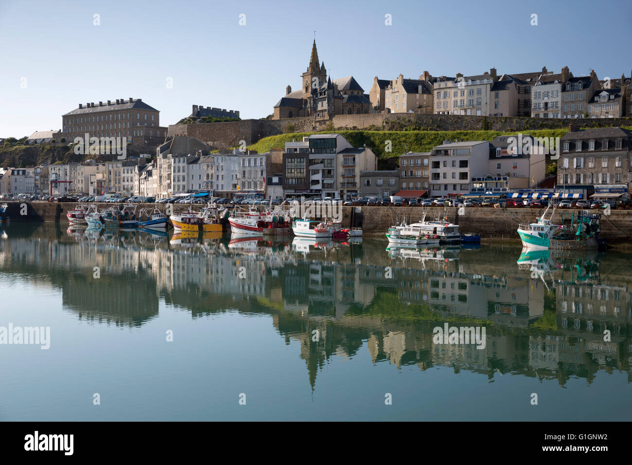 Harbour and upper town, Granville, Normandy, France, Europe - Stock Image