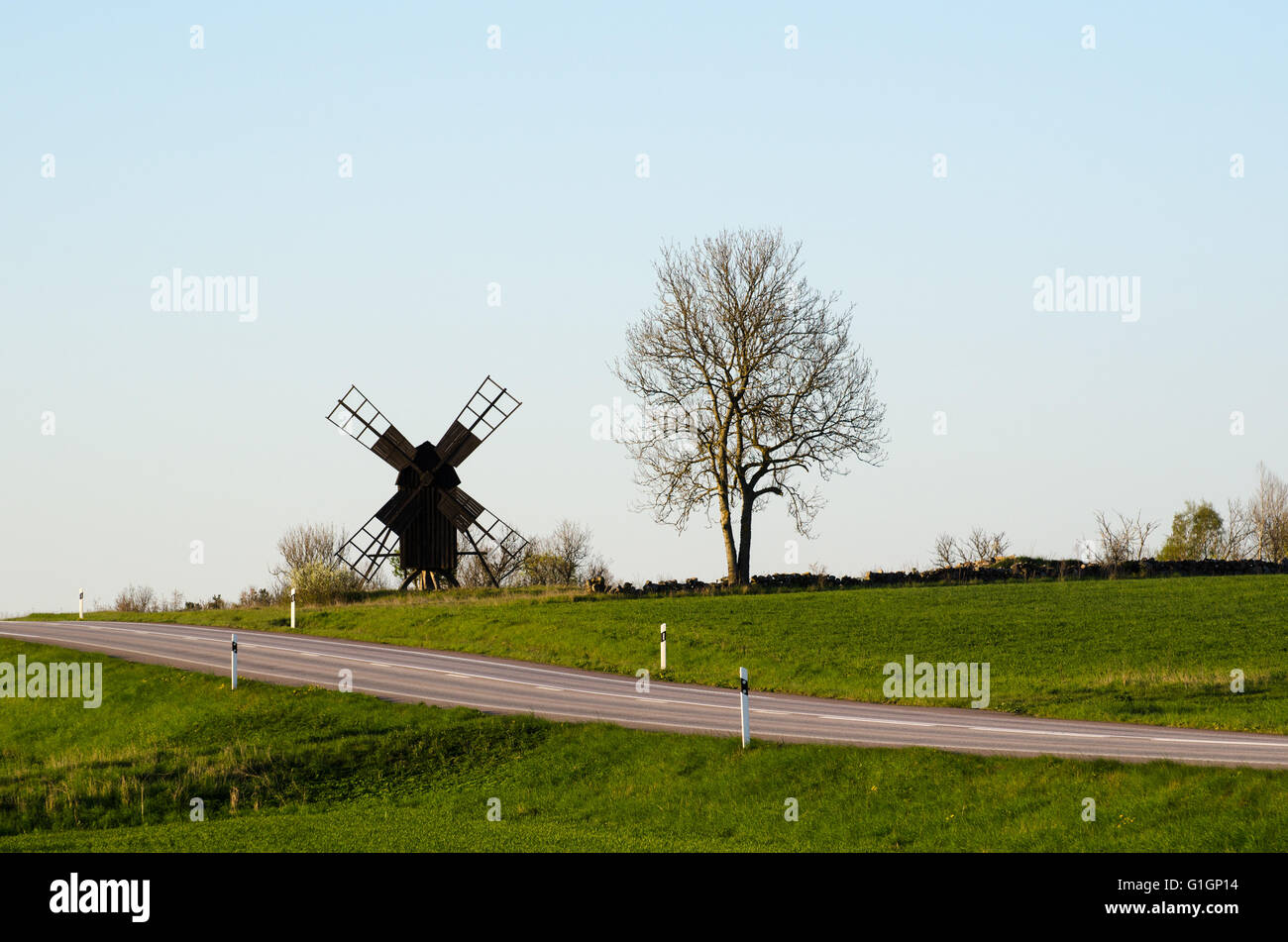 Old wooden windmill by a road in a green rural landscape at the swedish island Oland - Stock Image