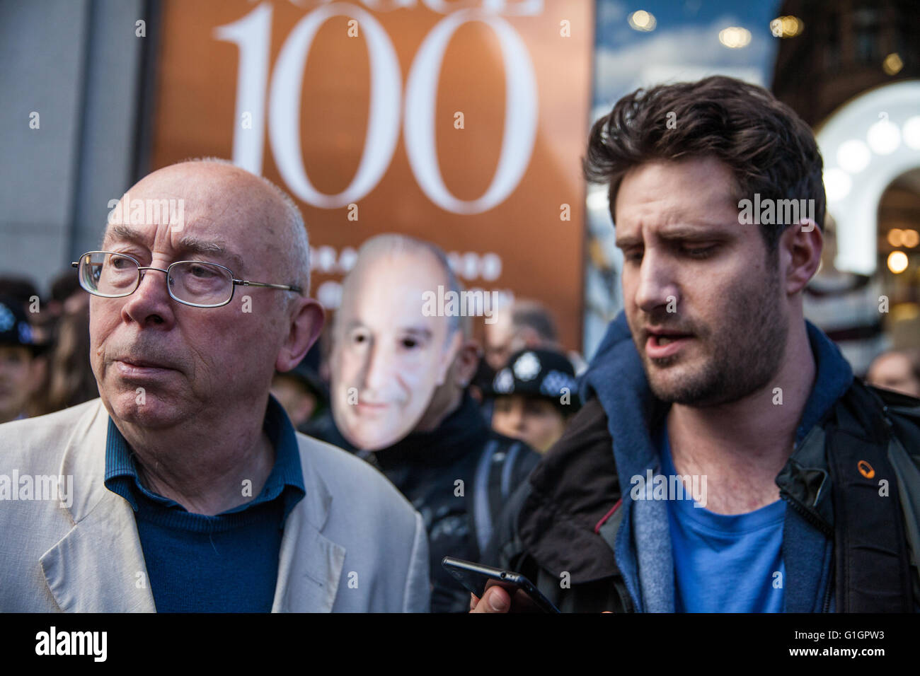 London, UK. 14th May, 2016. Ian Bone (l) of Class War and Petros Elia, General Secretary of the United Voices of - Stock Image