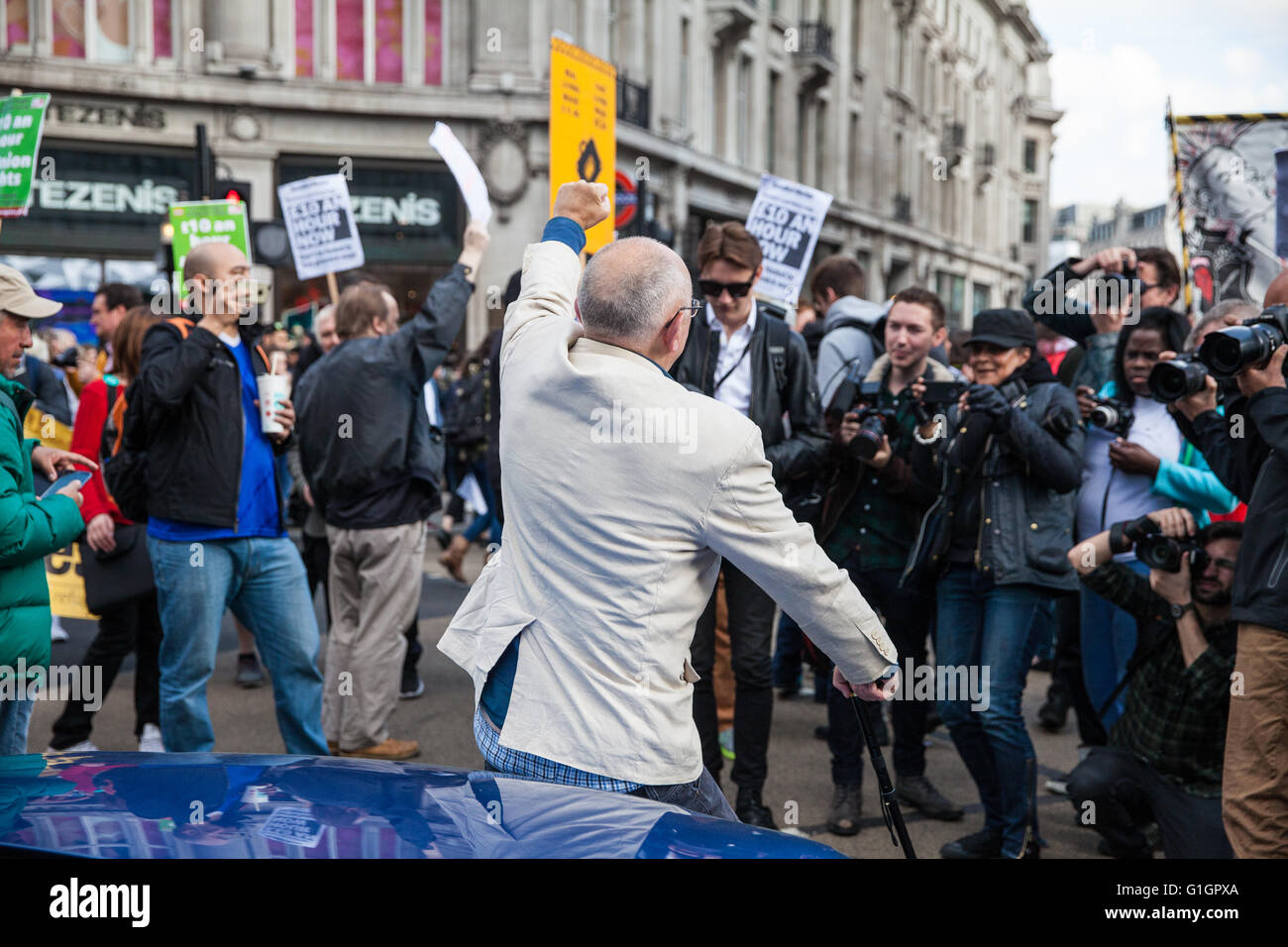 London, UK. 14th May, 2016. Ian Bone of Class War poses for a photo in Oxford Circus during a protest for a living - Stock Image