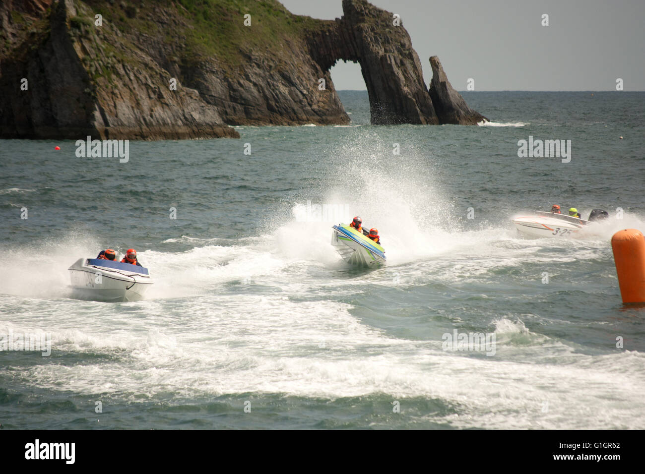 Powerboat racing around Torbay by the Offshore Circuit Racing Drivers Association at Torquay, Devon, UK, May 2016. - Stock Image