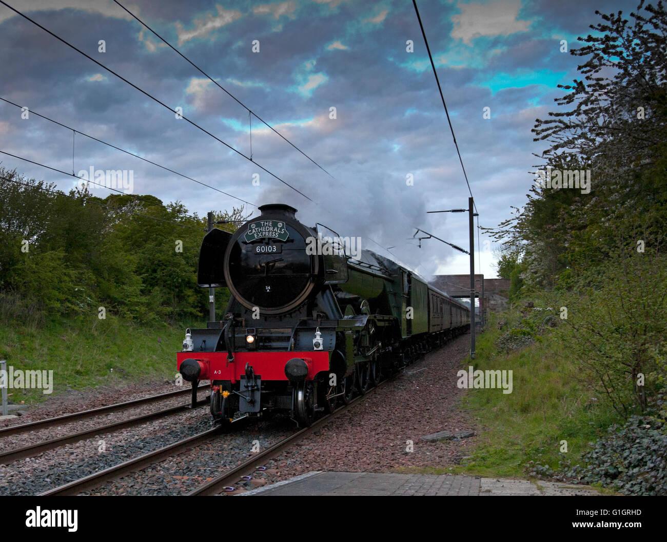 Wallyford, UK, 14 May 2016. The Flying Scotsman locomotive traveling to Edinburgh, Scotland through Wallyford station, Stock Photo