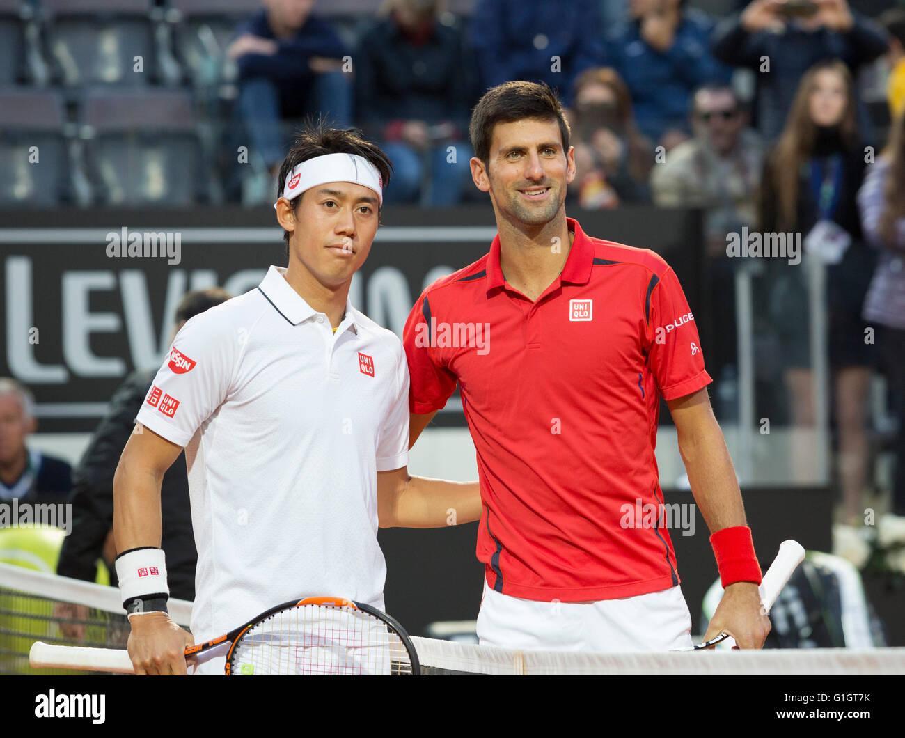 Rome, Italy. 14th May, 2016. Novak Djokovic and Kei Nishikori together before men's singles semi final match - Stock Image