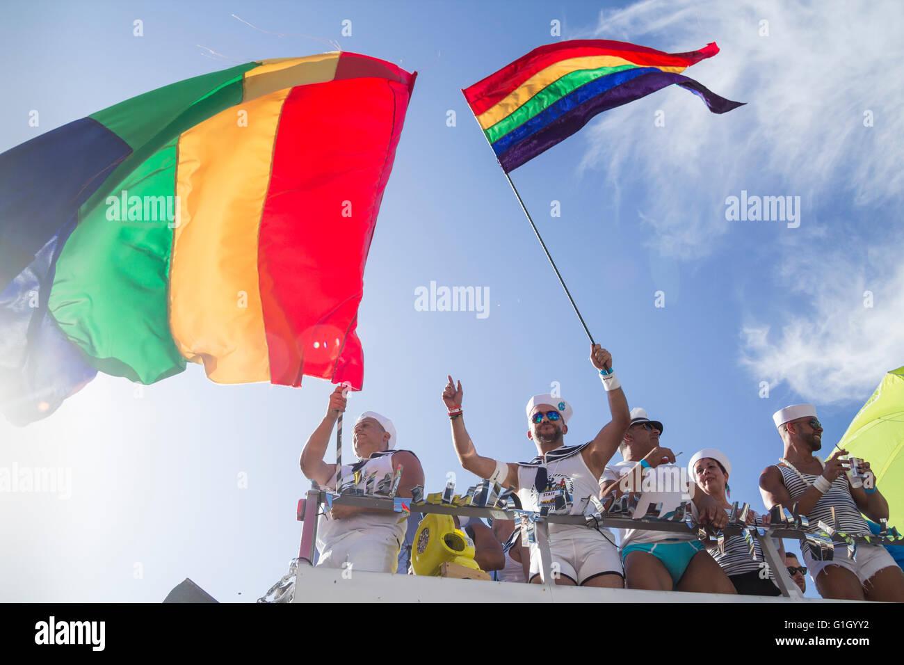 Maspalomas Gay pride parade 2016. Gran Canaria, Canary Islands, Spain - Stock Image