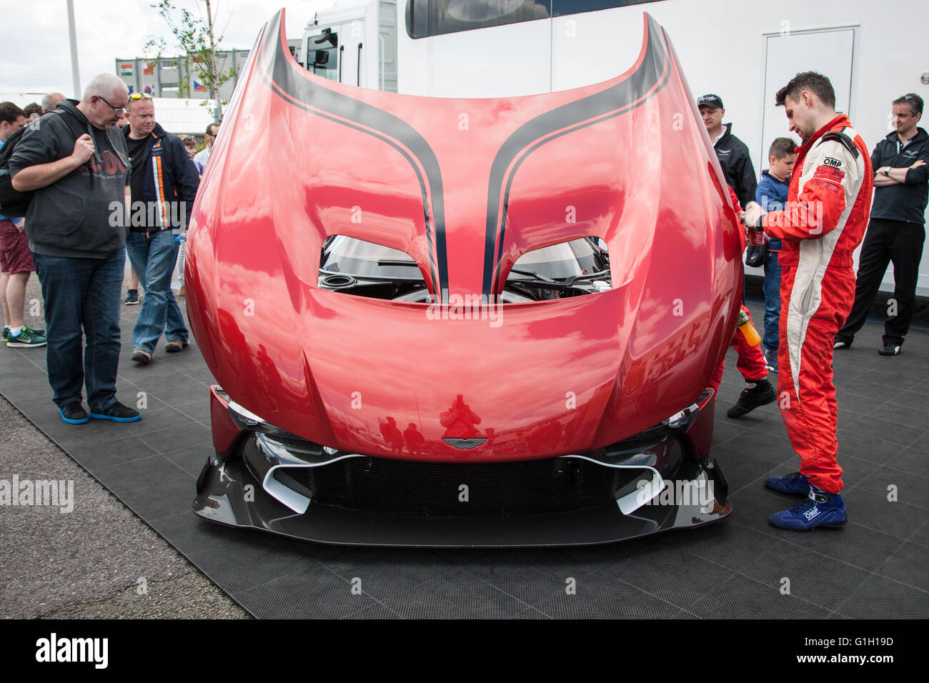 Silverstone, UK. 15th May, 2016. Aston Martin Vulcan on display in the paddock and doing demonstration laps around - Stock Image