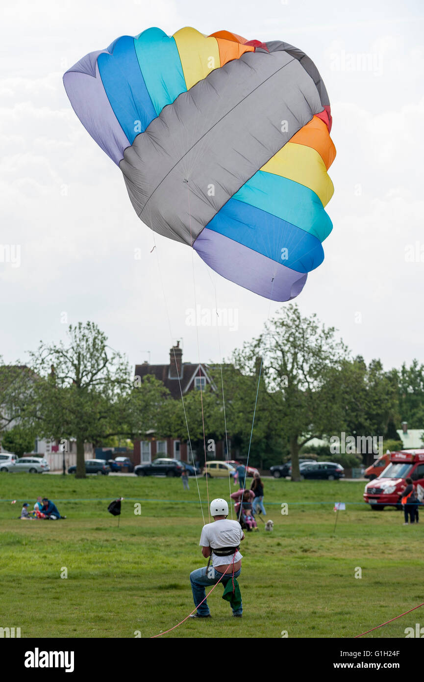 London, UK.  15 May 2016.  Keith Warner flies a 32m.sq. kite, one of only three in the UK.  Hundreds of kite flying - Stock Image