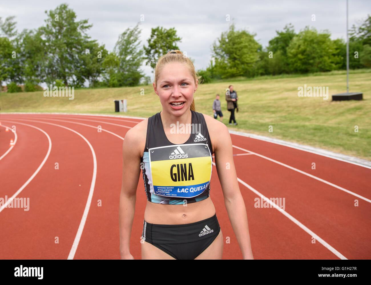 Herzogenaurach, Germany. 14th May, 2016. Gina Lueckenkemper of LG Olympia Dortmund celebrates after winning in the - Stock Image