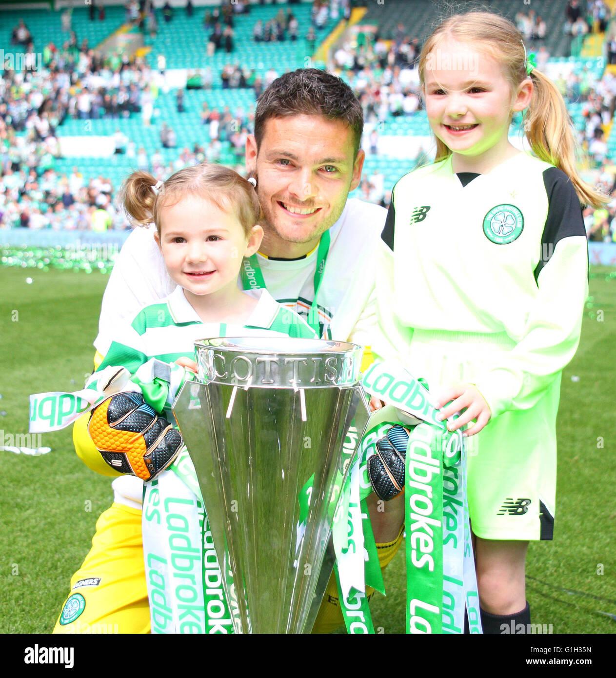 Celtic Park, Glasgow, Scotland. 15th May, 2016. Scottish Premier League. Celtic versus Motherwell. Craig Gordon - Stock Image