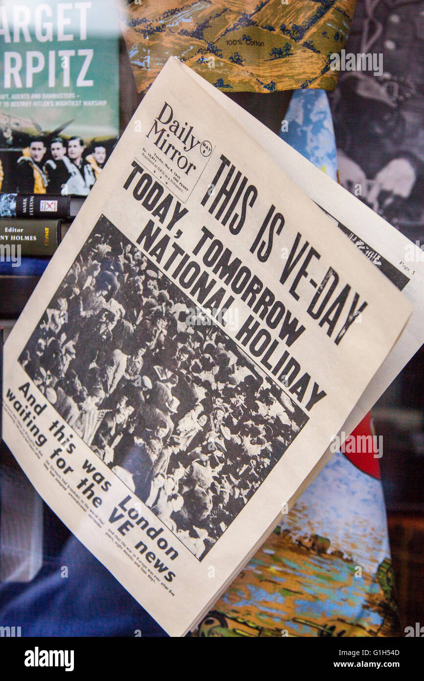 Daily Mirror Old VE Day newspaper, world war military news,  in Haworth,  North Yorkshire, UK.  Keighley & Worth - Stock Image