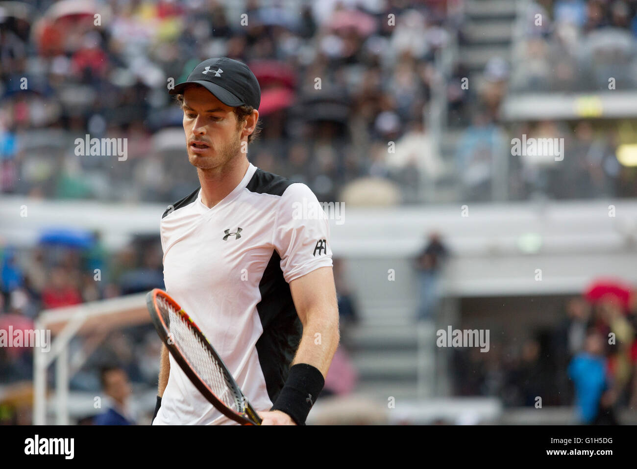 15th May, 2016. Andy Murray playing in the men's tennis final against Novak Djokovic in the BNL Internazionali, - Stock Image