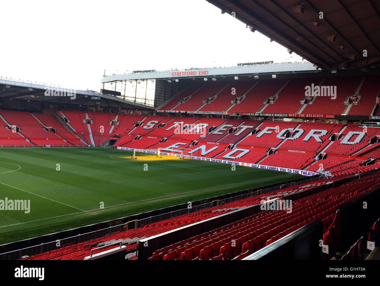 London, UK. 14th Mar, 2016. The photo taken with a mobile phone on March 14, 2016 shows Sir Alex Ferguson Stand - Stock Image