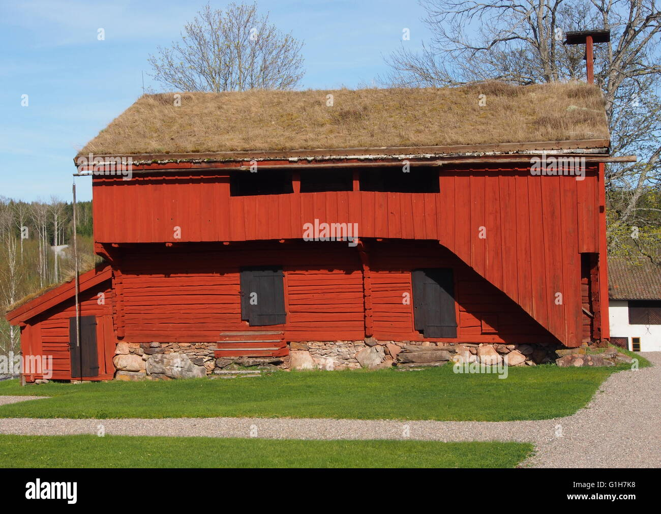 Old store building at a Swedish culture museum in Bergslagen, Sweden - Stock Image