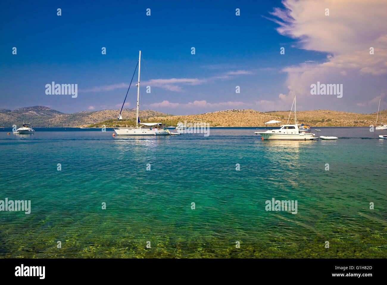 Kornati islands national park yachting view, dalmatia, Croatia - Stock Image