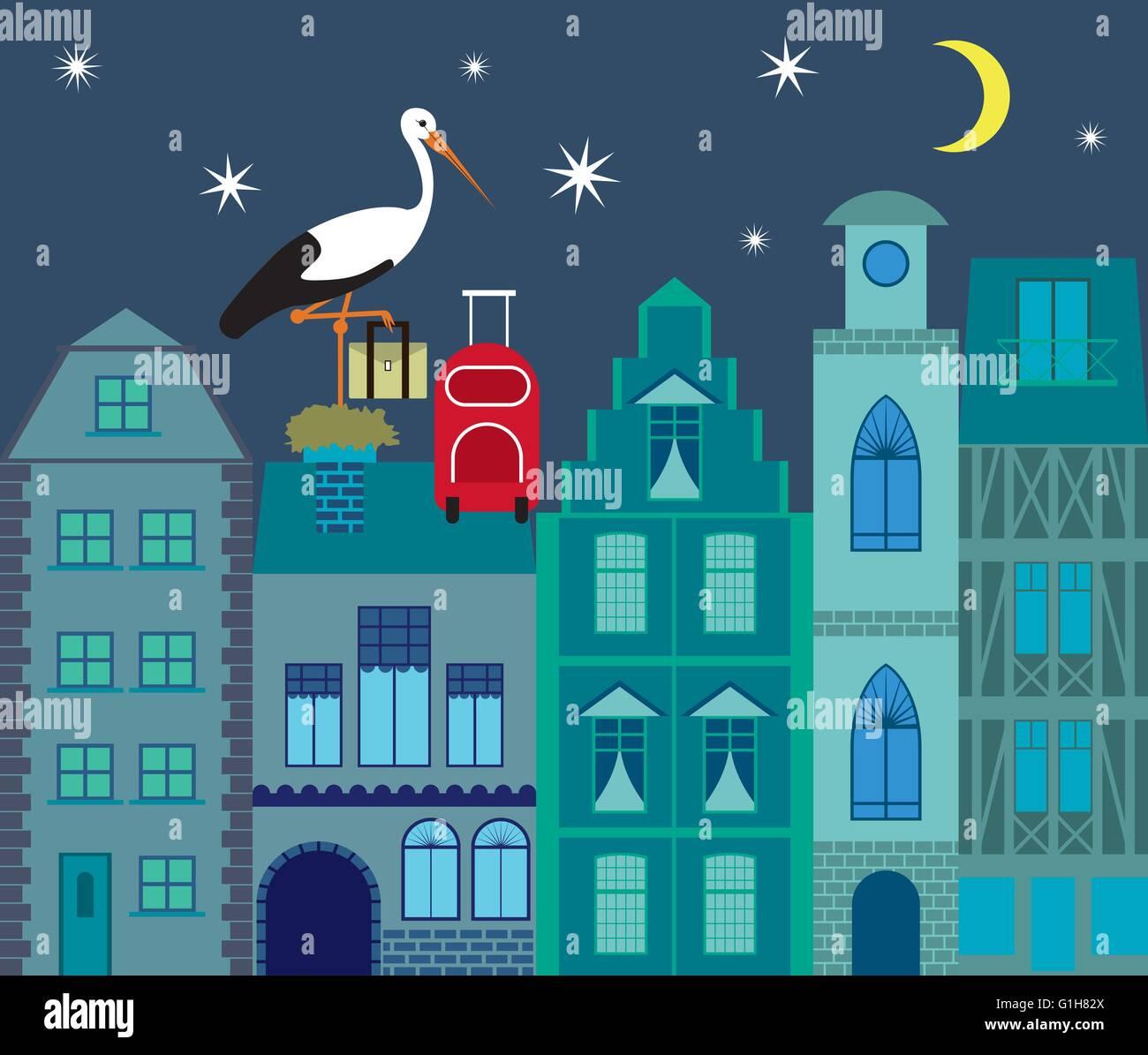 Stork migration flat design vector illustration - Stock Vector