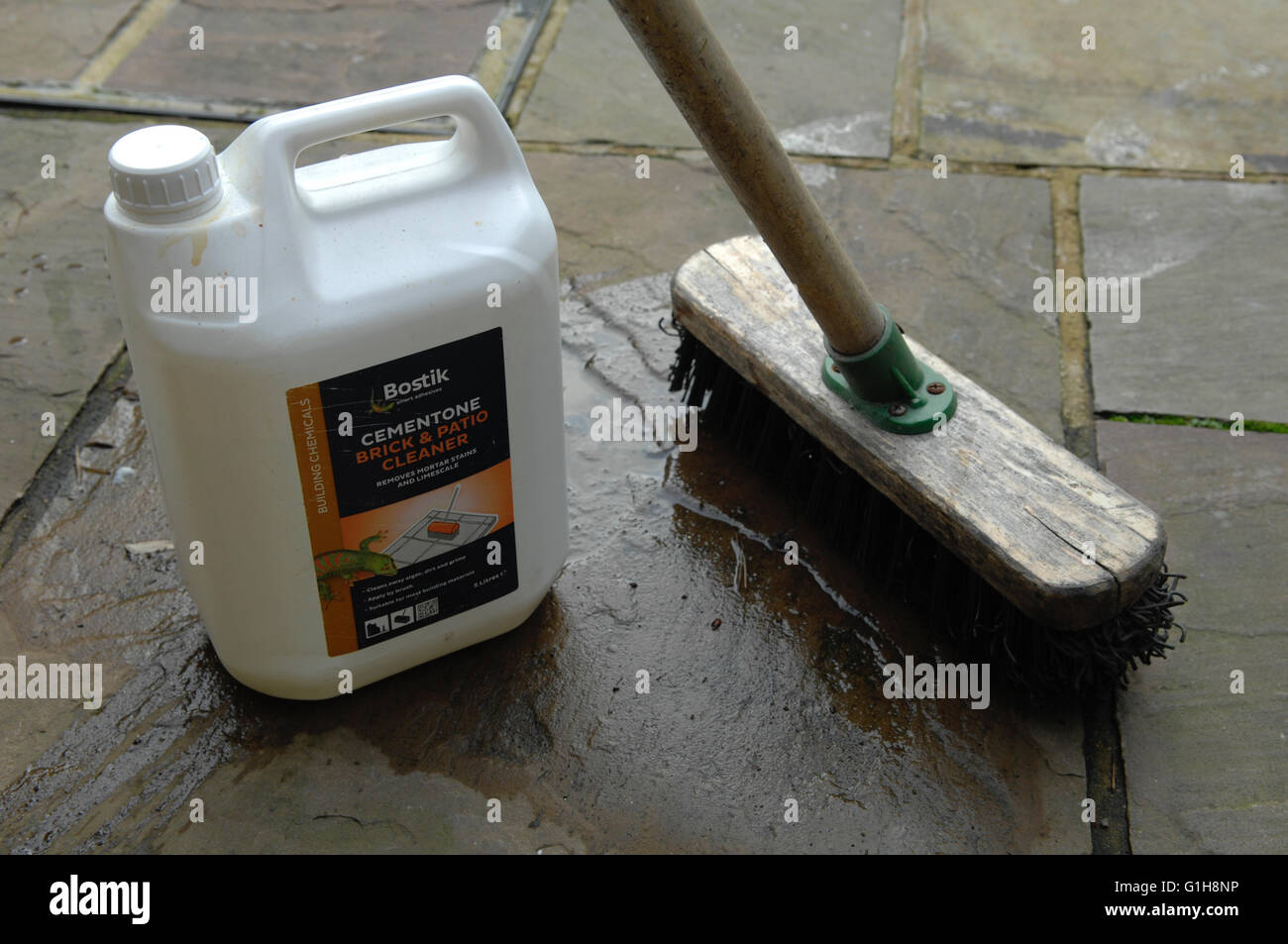 Brick Cleaning Product And Brush Stock Photo Alamy