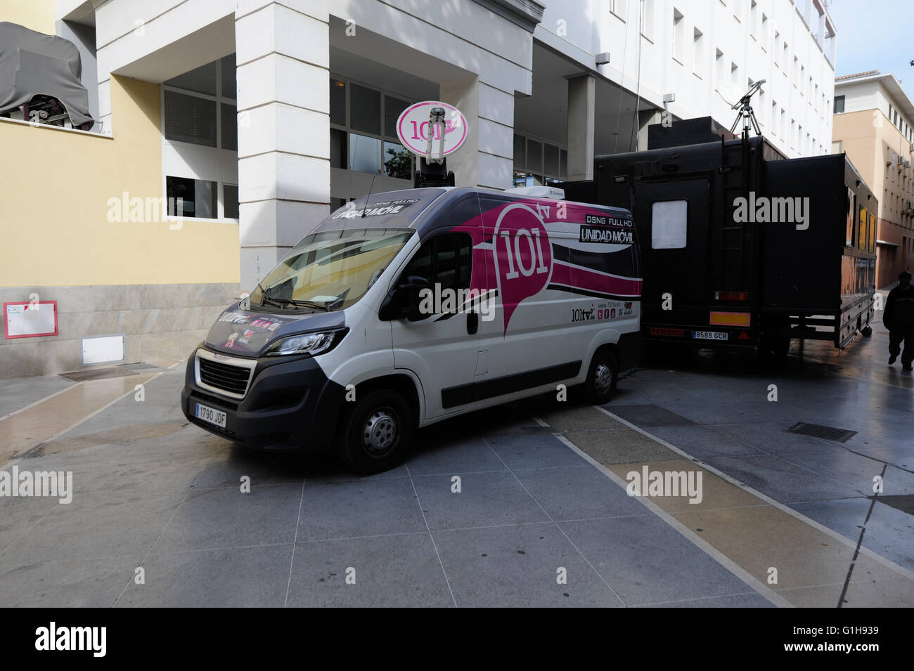 Broadcasting van in Malaga Spain - Stock Image