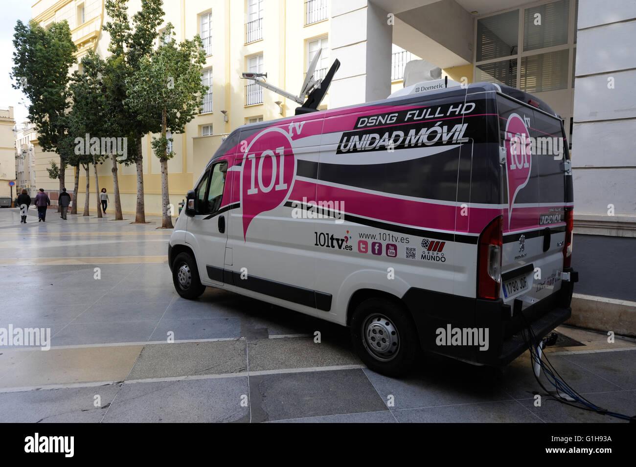 broadcasting truck in Malaga Spain - Stock Image