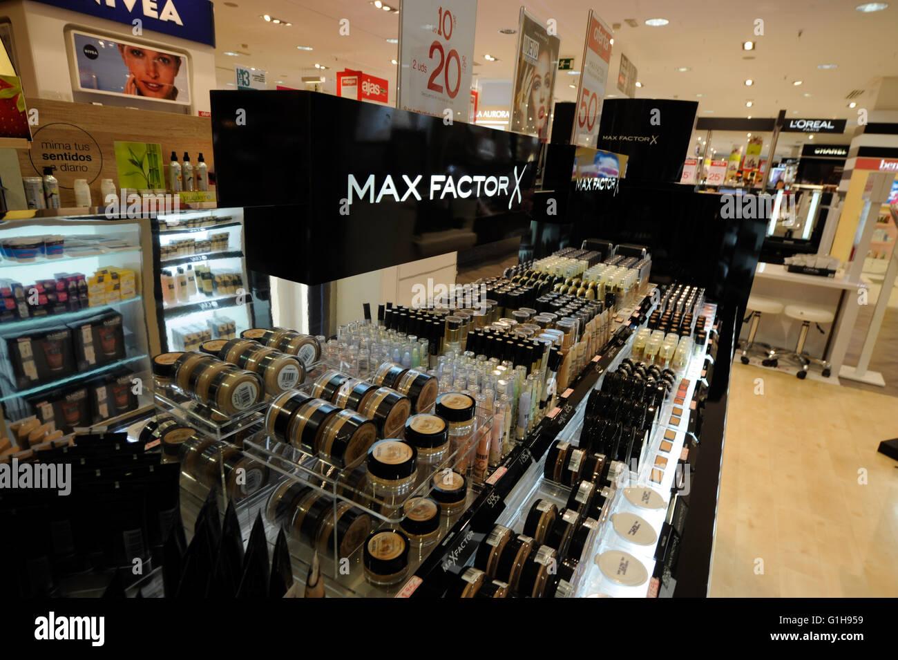 Max Factor X,department store, el Corte Ingles, Malaga - Stock Image