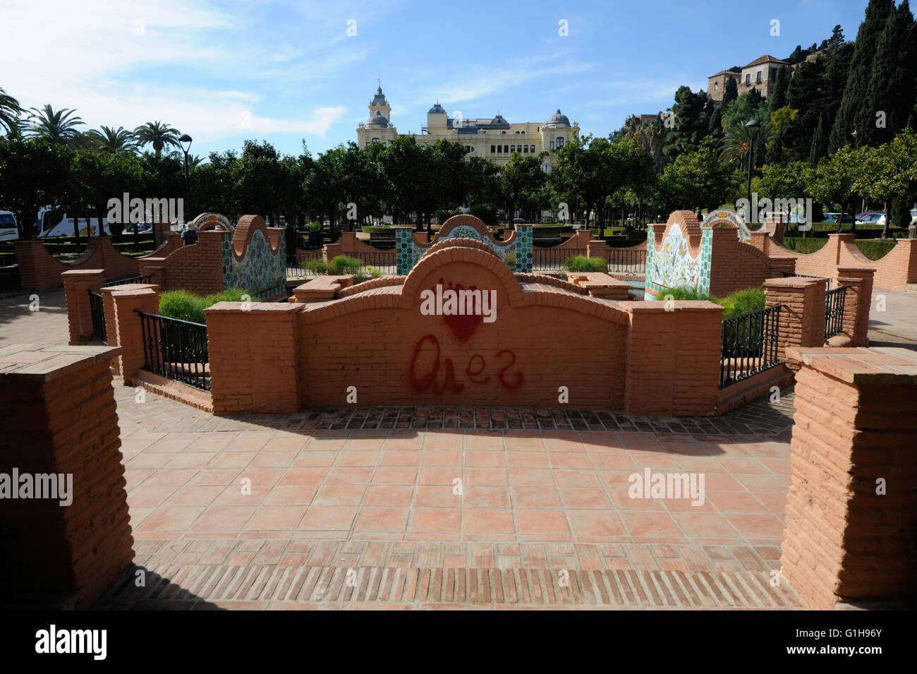 Garden in Alameda, Malaga Spain - Stock Image