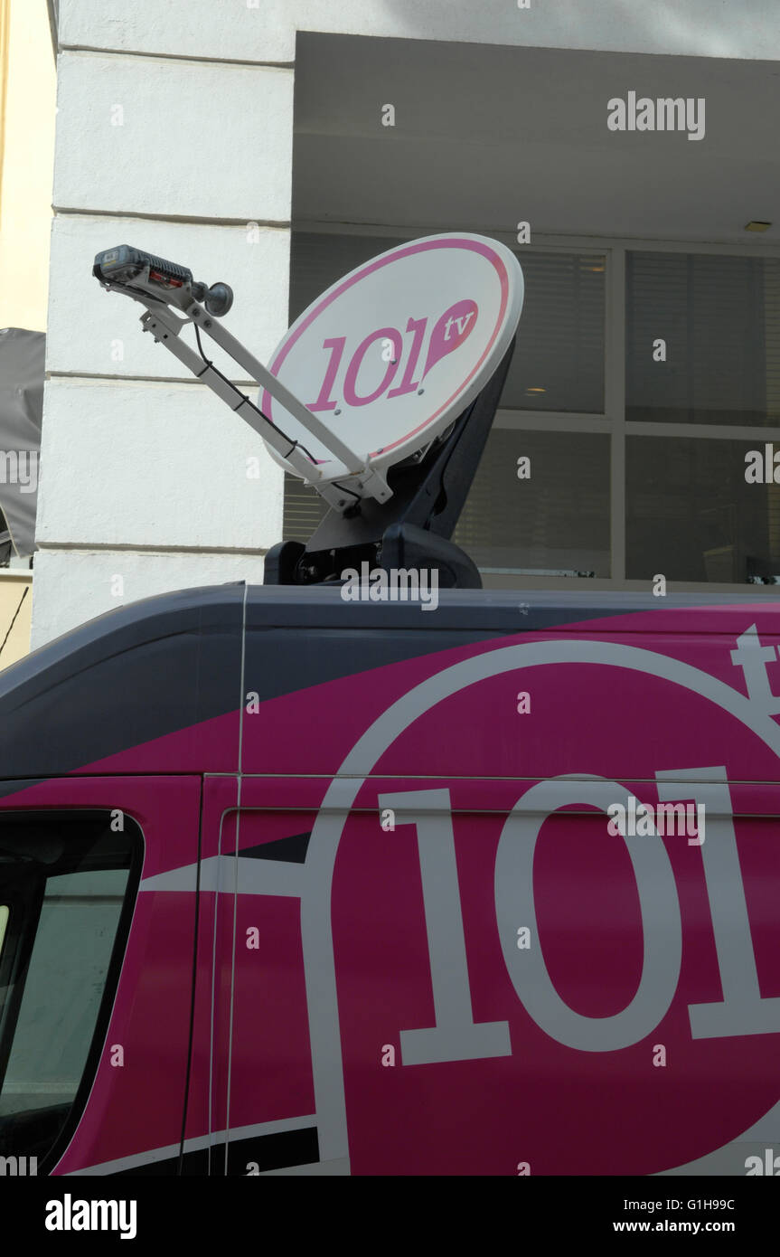 broadcasting truck in central Malaga,Spain - Stock Image