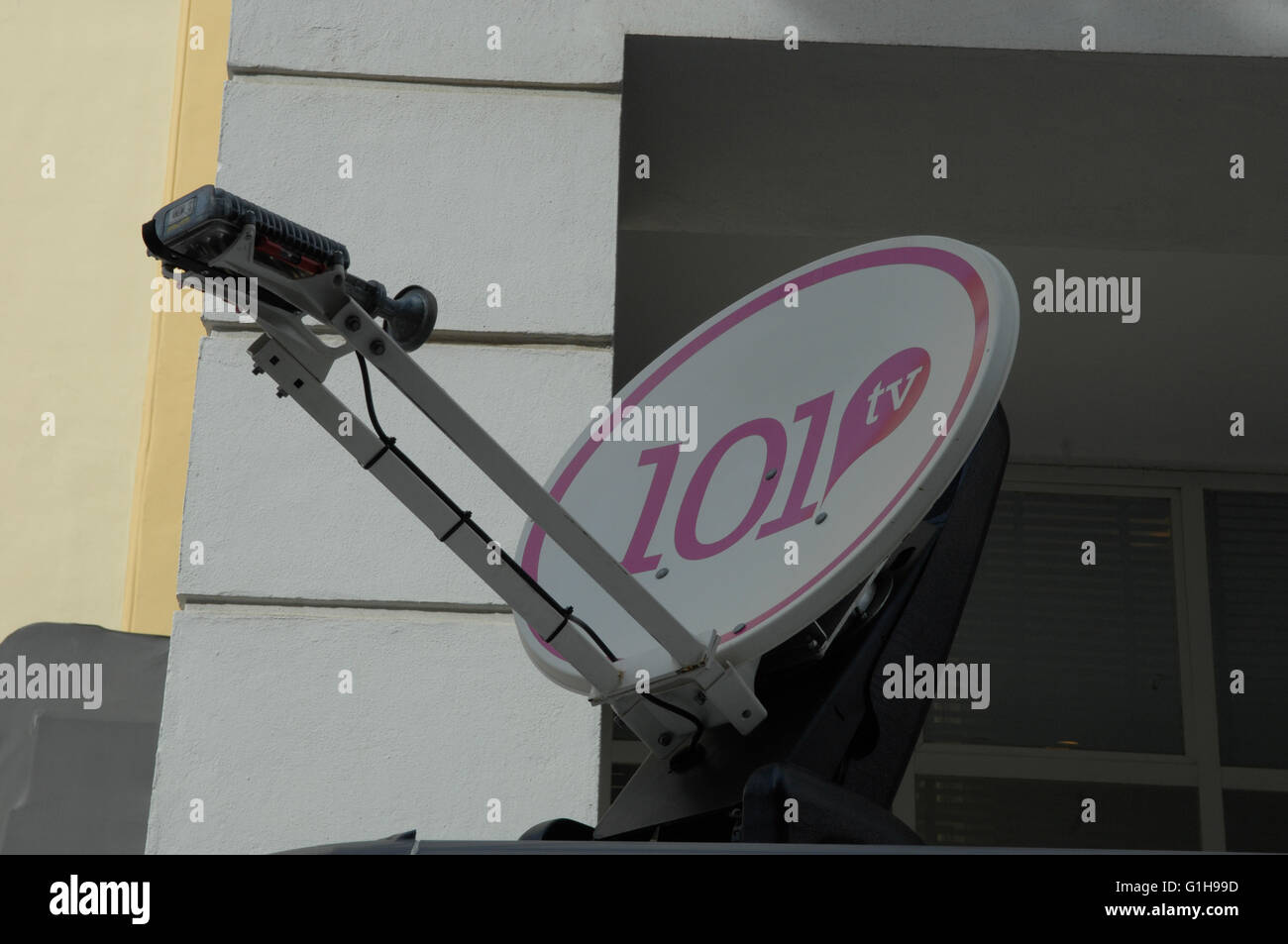 Broadcasting truck in Malaga Spain - Stock Image