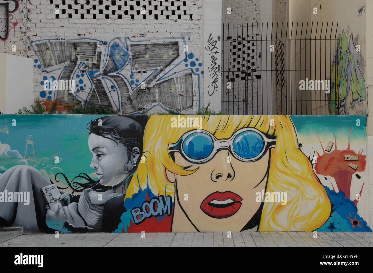 graffiti, street, view, Malaga Spain - Stock Image