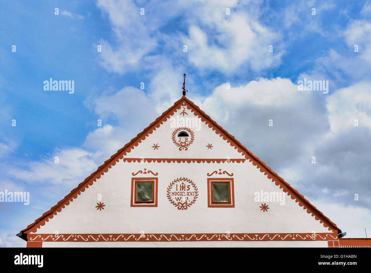 Czech Republic - UNESCO village Holasovice in South Bohemia - detail one old house - Stock Image