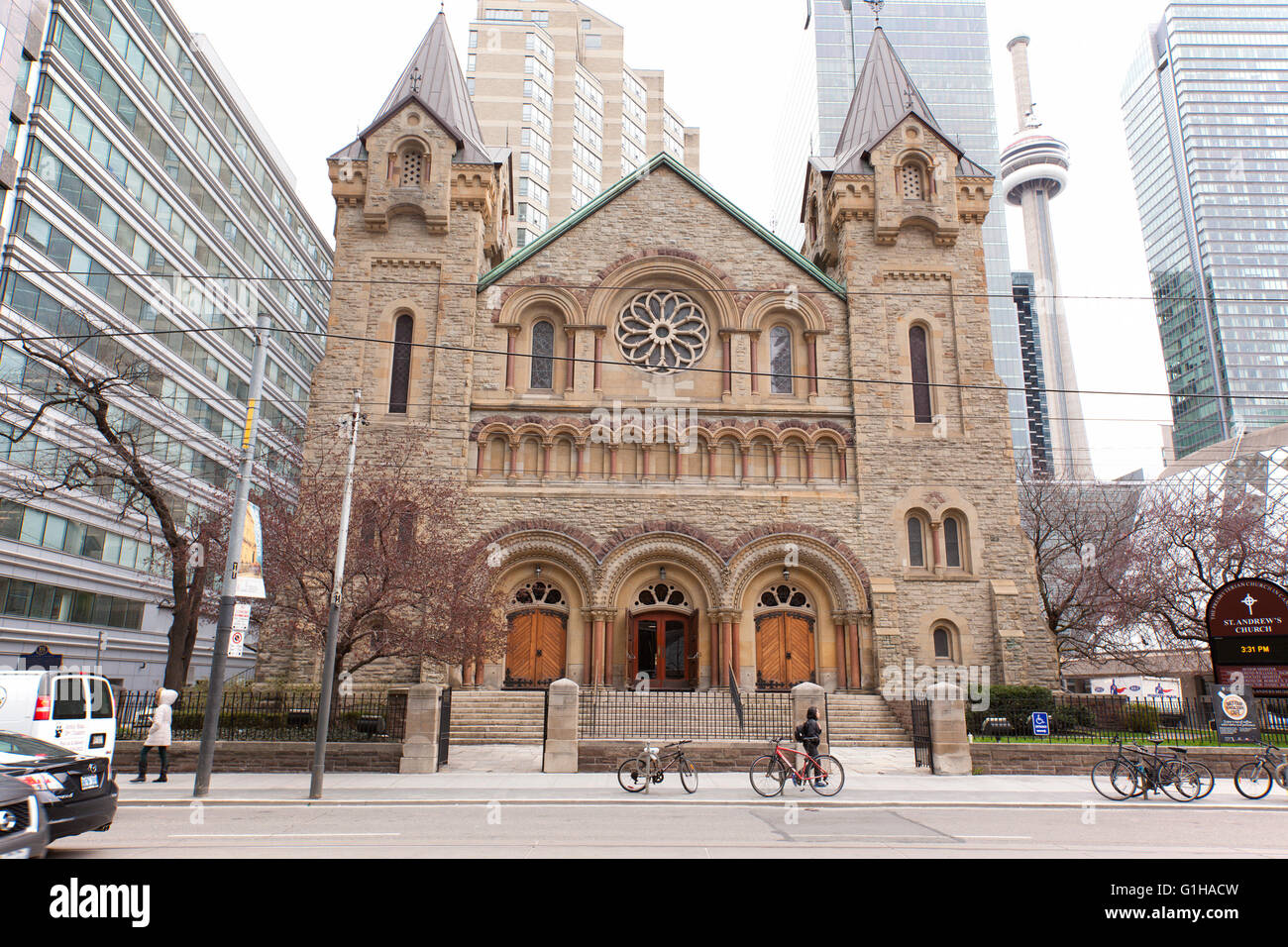 TORONTO - APRIL 28, 2016: St. Andrew's Church, is a large and historic Romanesque Revival Presbyterian church - Stock Image