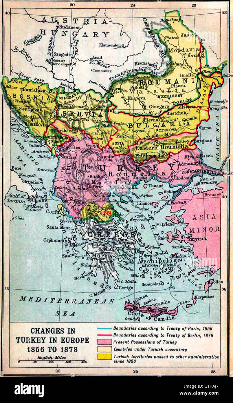 Map of the Borders in the Balkan peninsula after the Treaty of ...