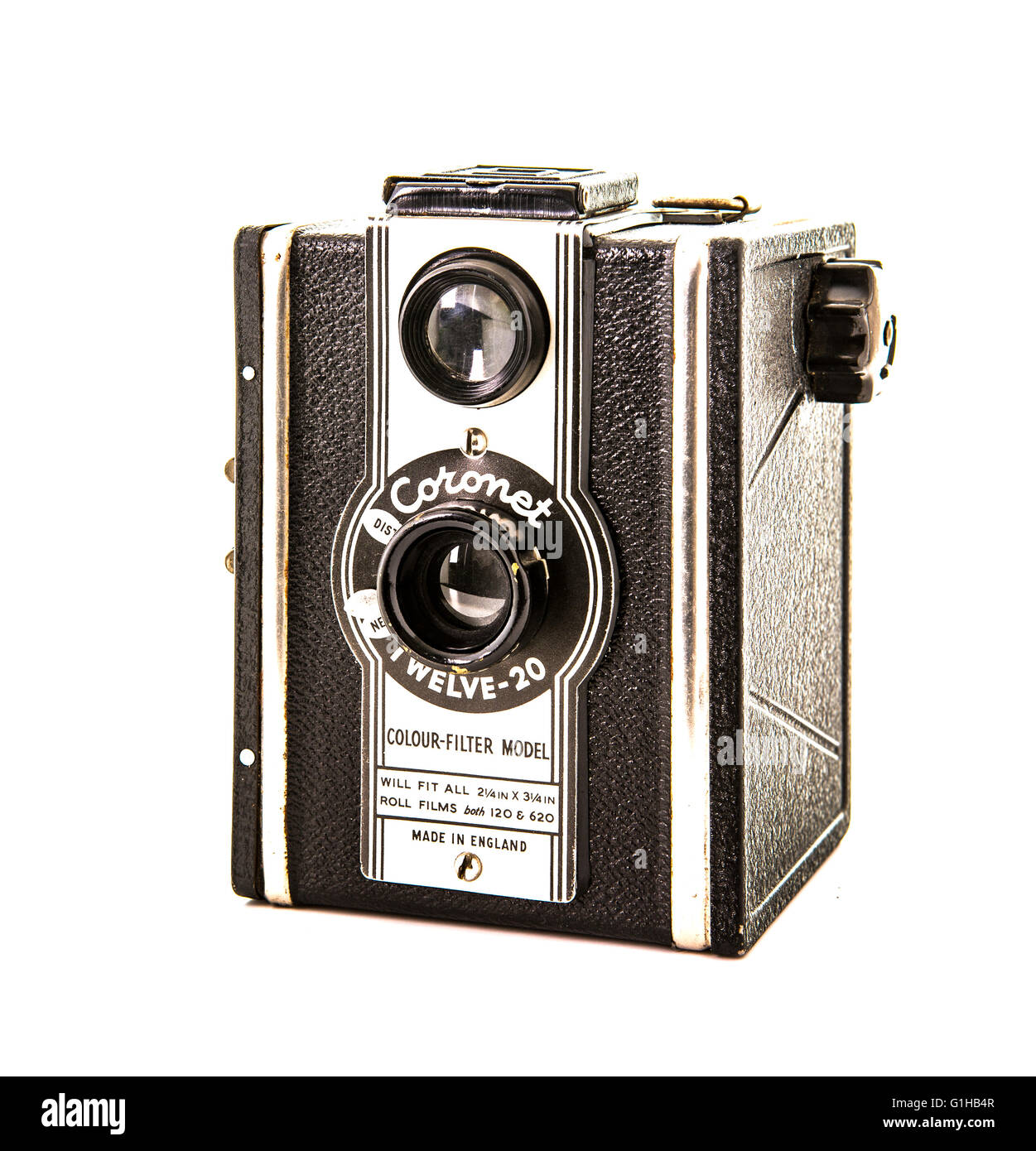 Coronet Twelve-20 box camera from the 1950's on a white background - Stock Image