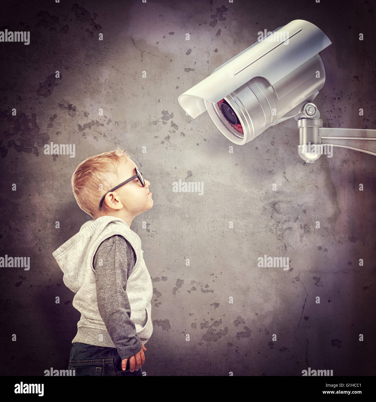 little child and cctv 3d - Stock Image