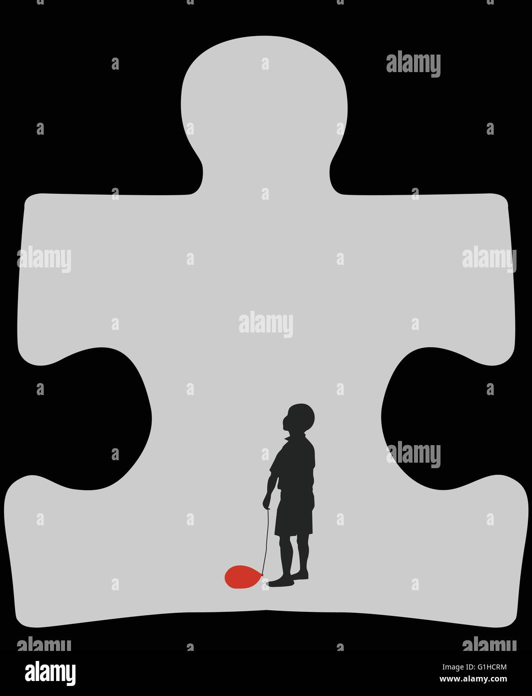 Autism Cave Silhouette Of Autistic Child With A Deflated Red Air