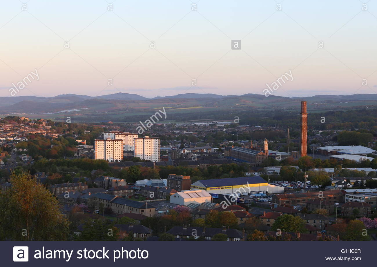Elevated view of Lochee and Cox's Stack chimney Dundee at dawn Scotland  May 2016 - Stock Image