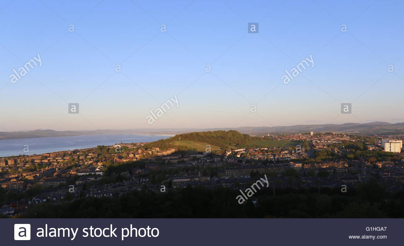Balgay Hill and western Dundee at dawn Scotland  May 2016 - Stock Image