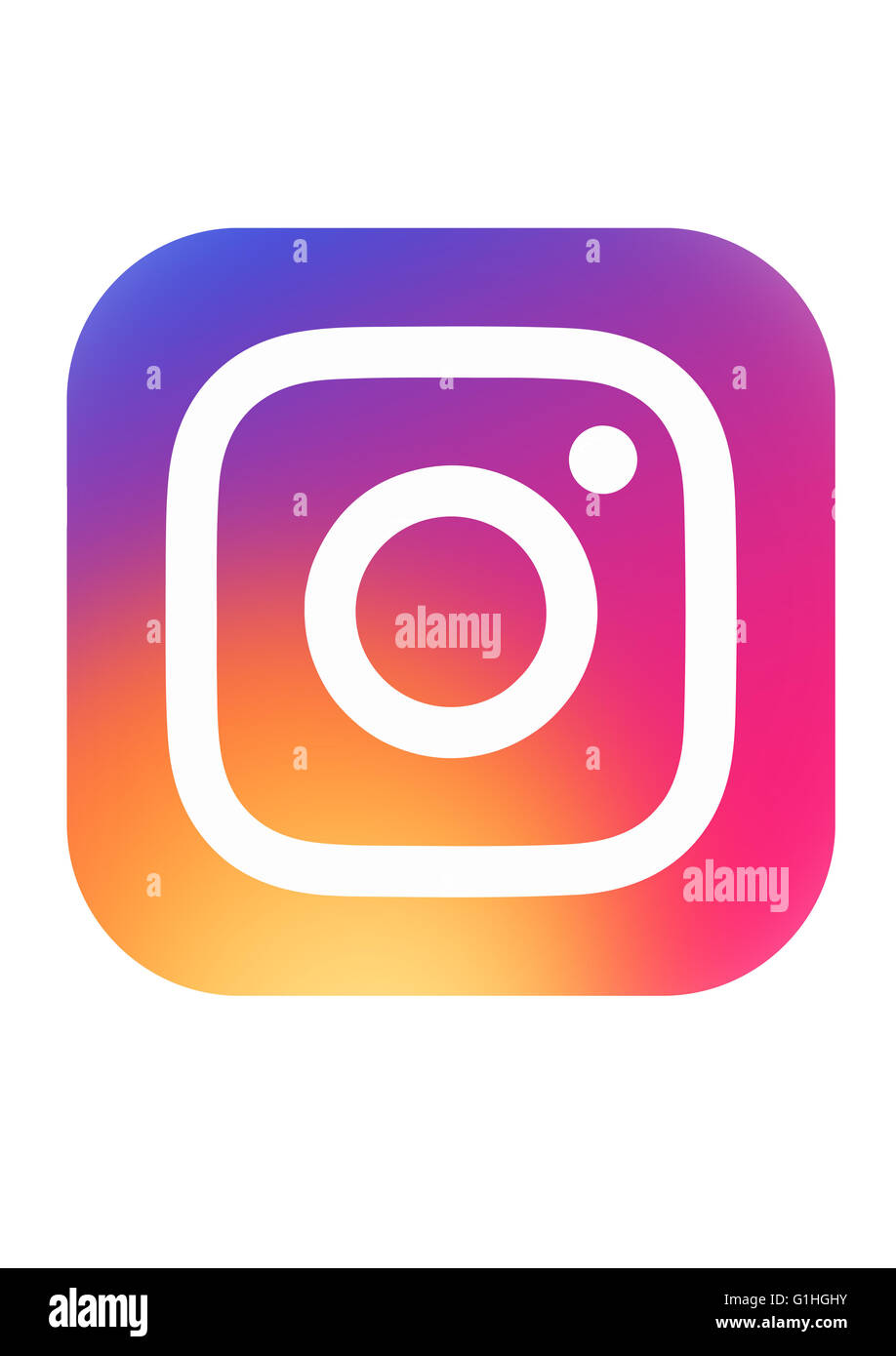 New Instagram logotype printed on white paper. - Stock Image
