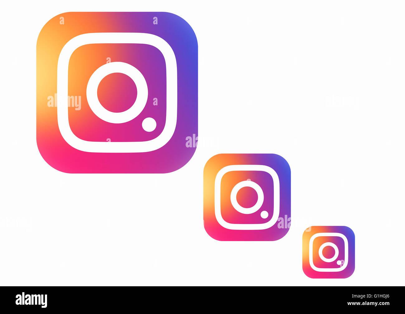 TERNOPIL, UKRAINE - MAY 16, 2016: New Instagram logotype printed on white paper - Stock Image