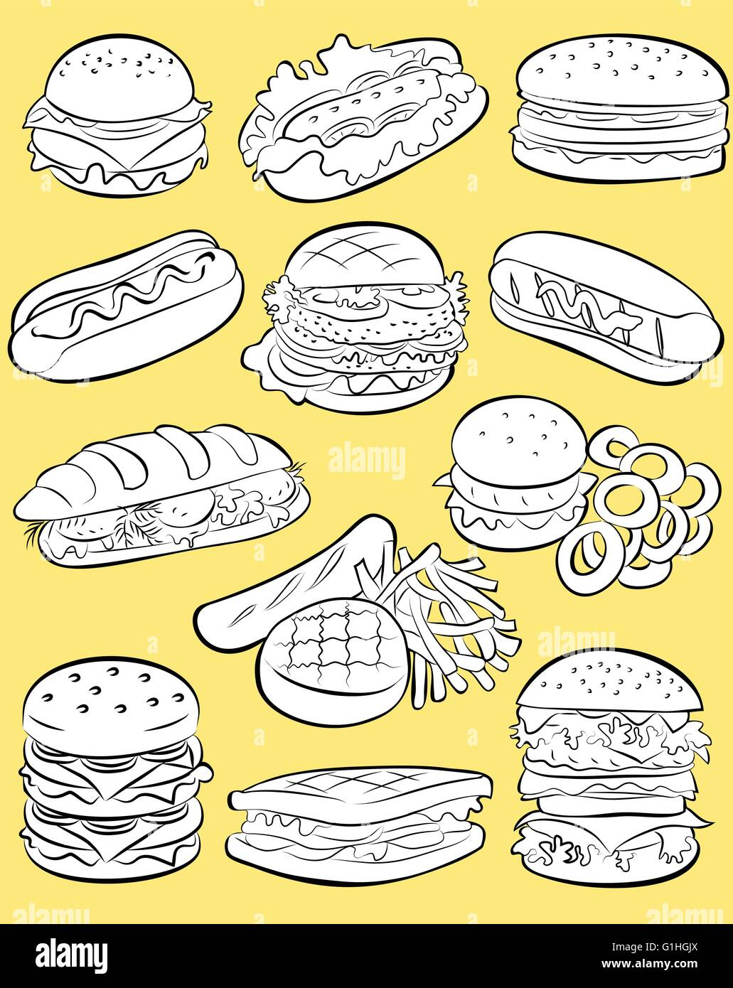 vector illustration of fast food collection in line art mode on yellow background - Stock Vector