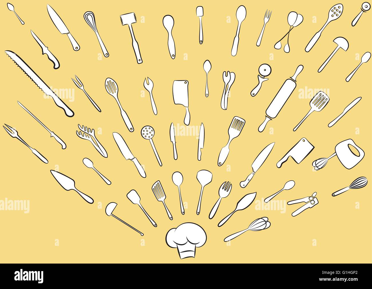 Vector illustration of cooking utensil set in line art mode - Stock Vector