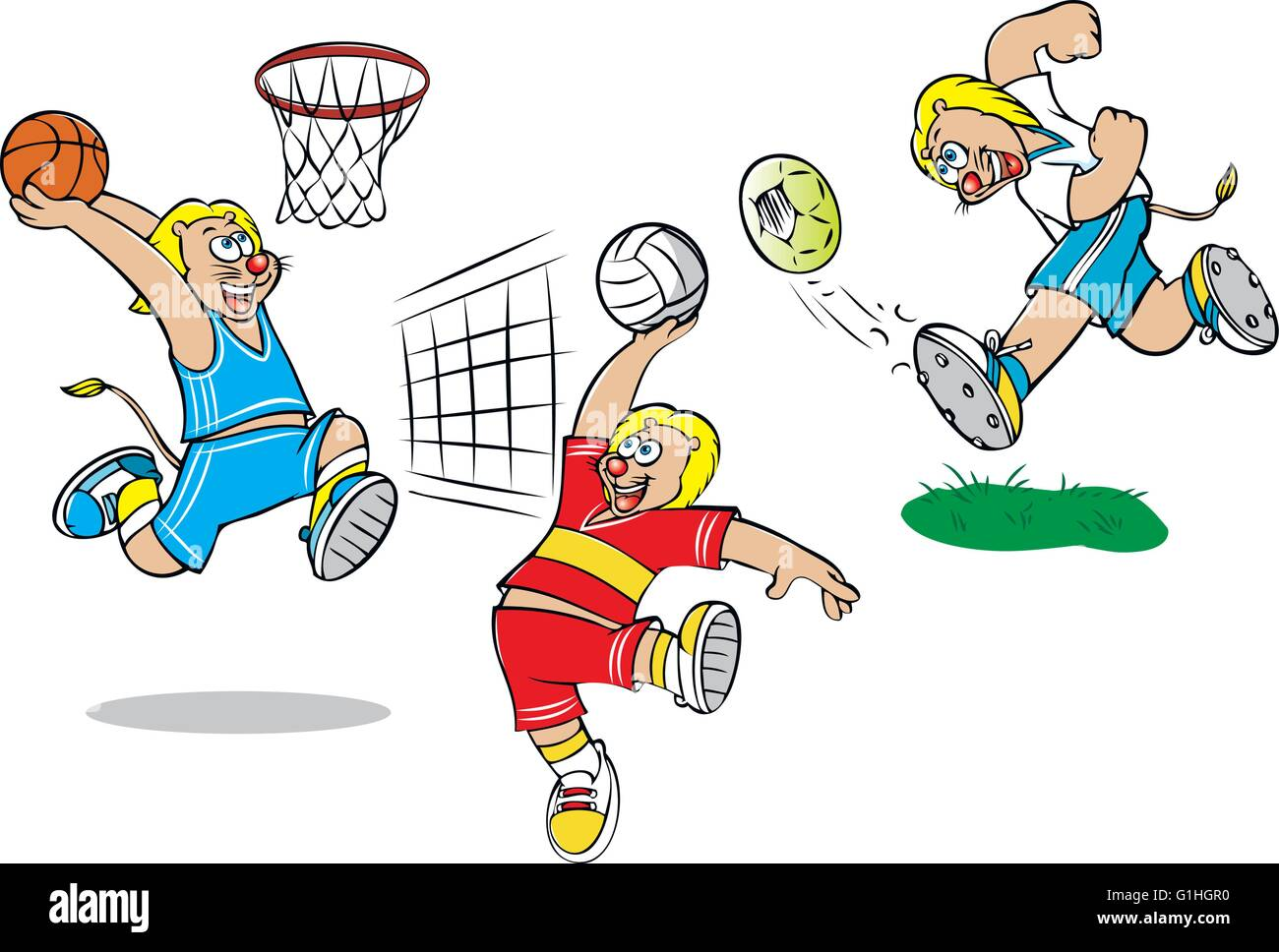 vector illustration of  lion playing football basketball volleyball - Stock Vector