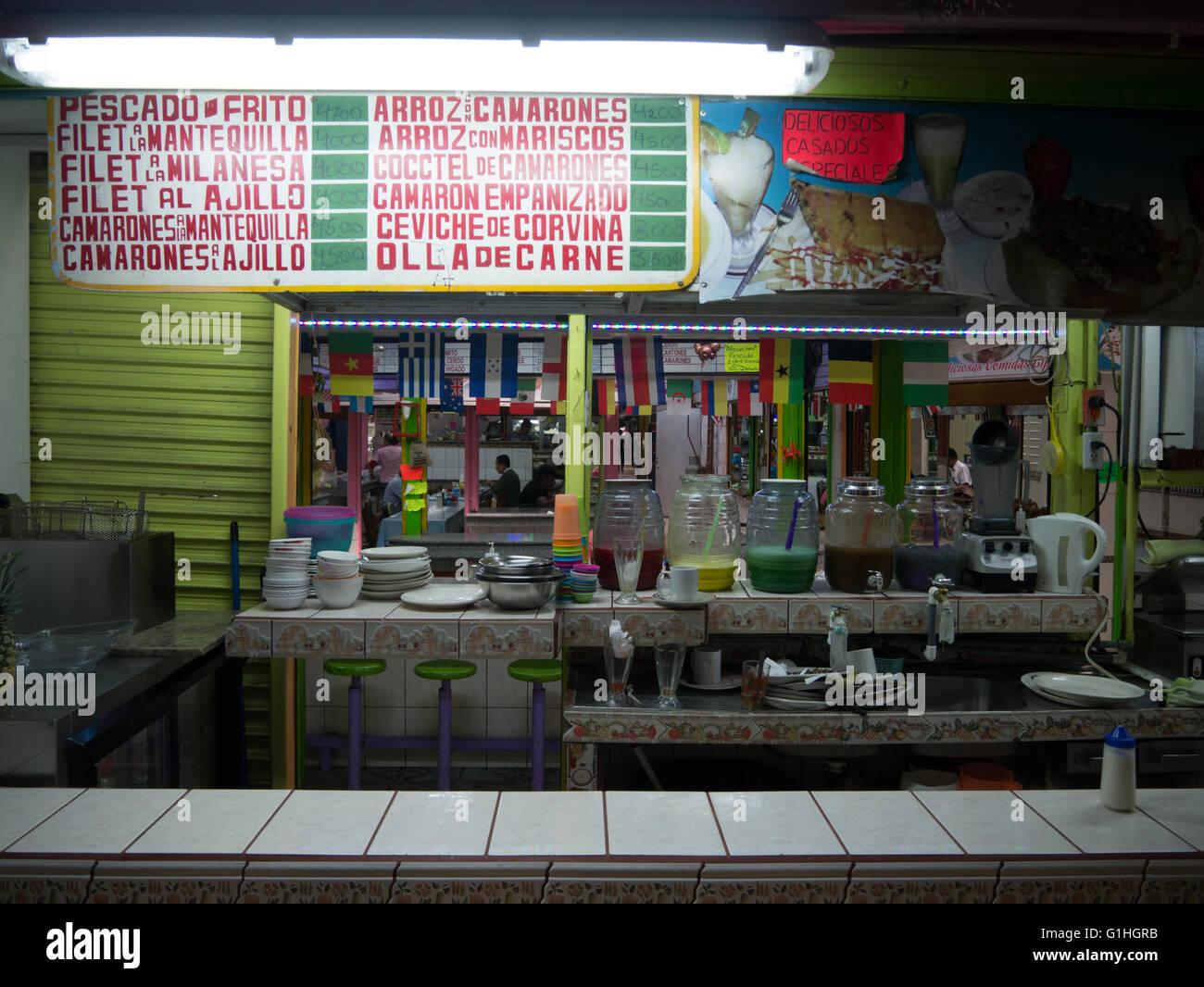 A restaurant at Mercado Central in San Jose, Costa Rica Stock Photo