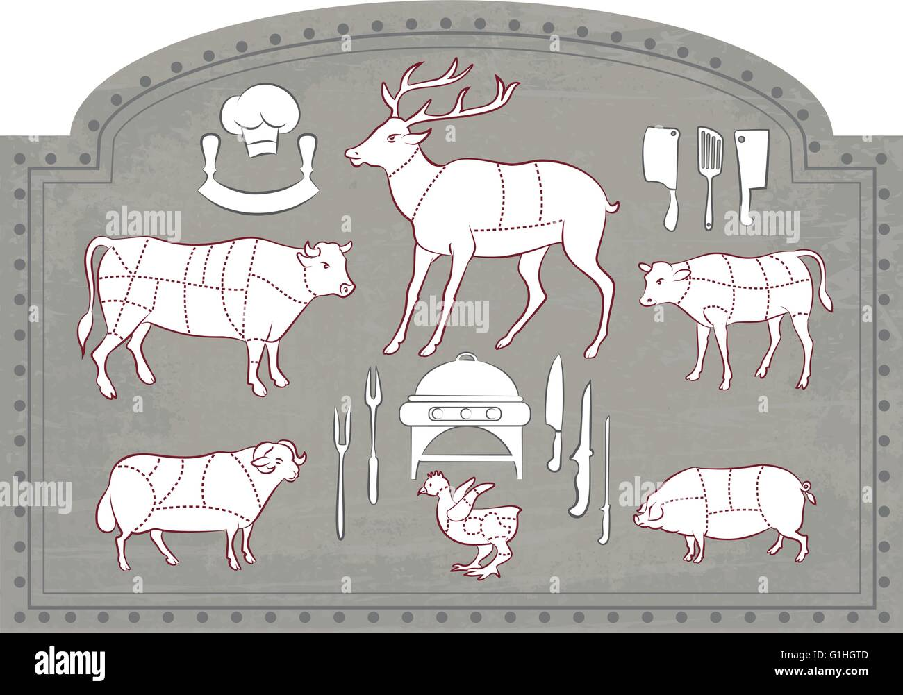 Vector illustration of Diagram Guide for Cutting Meat in Vintage Style - Stock Image