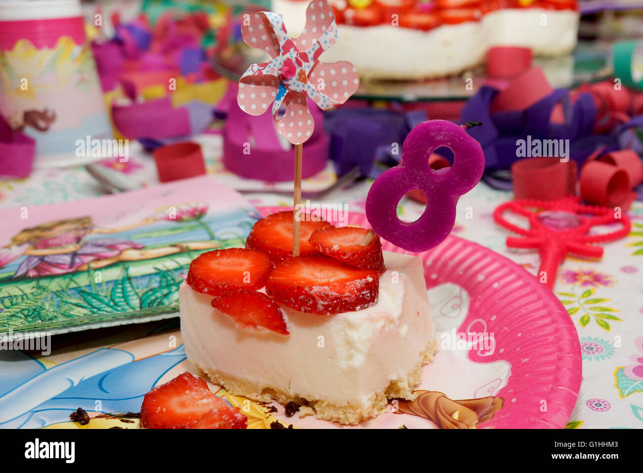 Birthday Cake For An 8 Year Old Stock Photo 104263939 Alamy