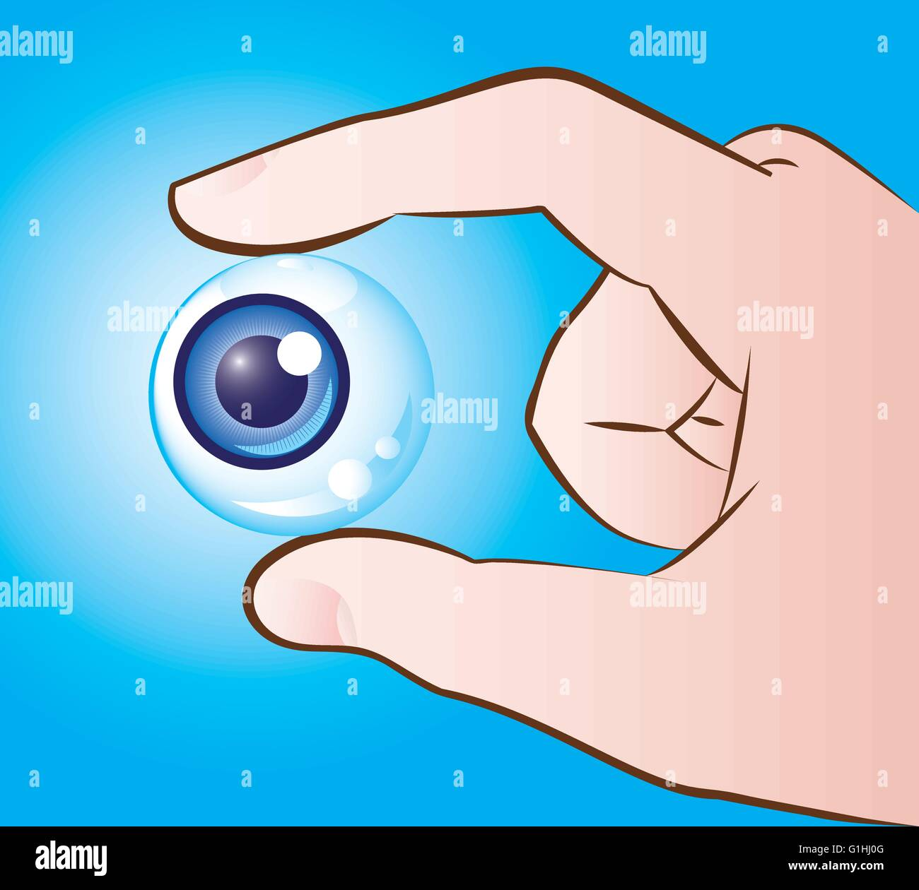Vector illustration of a hand holding eyeball - Stock Image