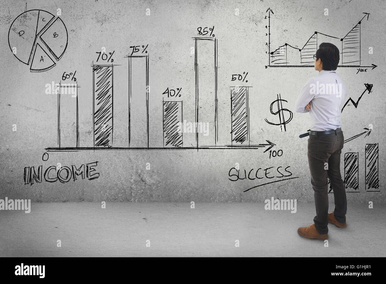 Asian Businessman Looking Statistic Drawing Business Concept Wall Background - Stock Image