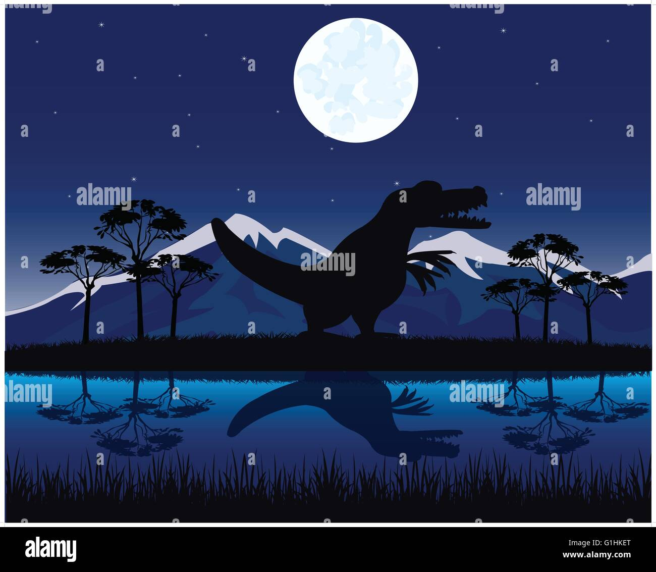 Dinosaurs appears in beautiful landscape at night - Stock Vector