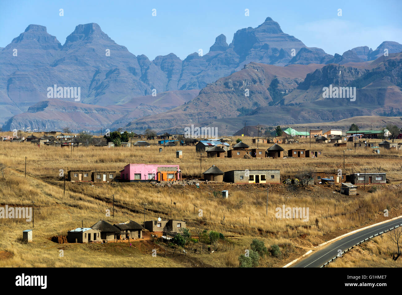 Village in the foothills of the Drakensbergs, KwaZulu Natal, South Africa Stock Photo