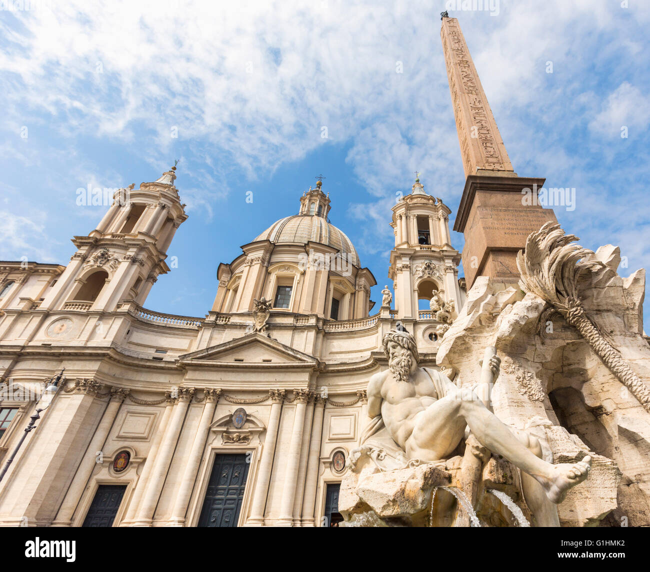 Rome, Italy.  Piazza Navona. Fontana dei Quattro Fiumi, or Fountain of the Four Rivers, created by Gian Lorenzo - Stock Image