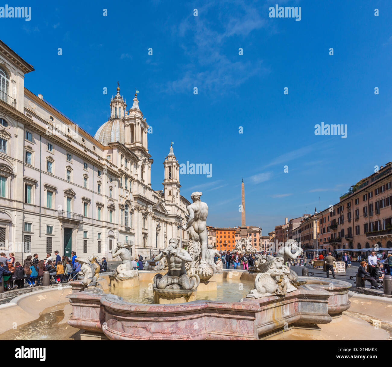 Rome, Italy.  Piazza Navona. Looking north, over the Fontana del Moro, or Moor's Fountain. - Stock Image